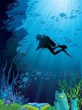 Belle barriera corallina e siluette dell'operatore subacqueo illustrazione vettoriale