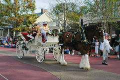 Belle and Beast. Are taken down the parade rout in a beautiful white carriage and a Clydesdale horse Stock Photo