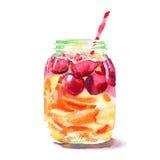 Belle belle banque colorée mignonne délicieuse juteuse savoureuse fraîche lumineuse de detox avec les cerises rouges, les oranges illustration stock