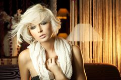 Belle blonde avec l'écharpe Images stock