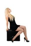Belle blonde avec l'ampère Image stock