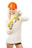 Belle blonde avec une clé. photographie stock