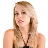 Belle blonde d'isolement sur le blanc Photo libre de droits