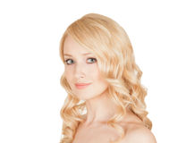 Belle blonde sur le fond d'isolement Photo libre de droits