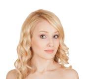 Belle blonde sur le fond d'isolement Images libres de droits