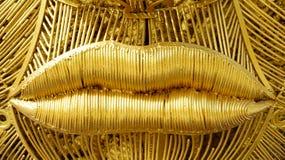 Belle bouche en acier d'or photo stock
