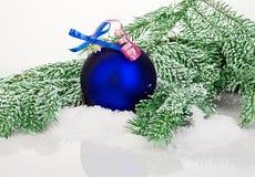 Belle boule bleue de Noël sur l'arbre de sapin givré Ornement de Noël Images stock