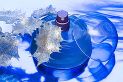 Belle bouteille bleue de parfum images libres de droits
