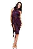 Belle brune caucasienne dans la robe improvisée Photo libre de droits