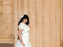 Belle brune dans la robe de mariage photographie stock libre de droits