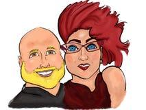 Belle caricature mignonne colorée de bande dessinée de couples illustration de vecteur