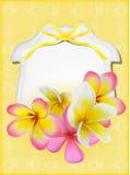 Belle carte cadeaux avec des plumerias jaunes et roses Images libres de droits