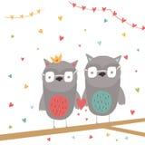 Belle carte cadeaux de jour de valentines avec le coeur et les couples des hiboux illustration stock
