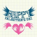 Belle carte d'amour tiré par la main de Saint Valentin. Images libres de droits