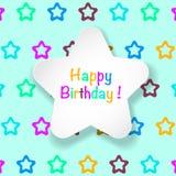 Belle carte d'anniversaire Étoiles de papier, fond d'étoile Photo stock
