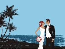 Belle carte de couples de mariage Photographie stock