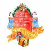 Belle carte de Noël d'aquarelle Images libres de droits