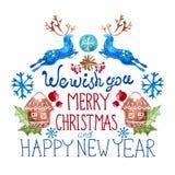 Belle carte de Noël d'aquarelle Images stock