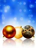 Belle carte de Noël heureux bleue. ENV 8 Images stock