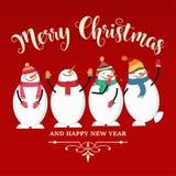 Belle carte de Noël plate de conception avec le bonhomme de neige et les souhaits illustration libre de droits