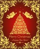 Belle carte de Noël de vintage avec l'arbre floral coupé d'or de Noël, les anges et la frontière décorative de flourishes Photo stock