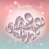 Belle carte de Valentine avec le lettrage Photos stock