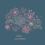 Fond floral abstrait. Fond romantique avec les fleurs tirées par la main. Illustration de vecteur Images stock