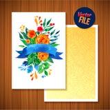 Belle carte lumineuse florale d'invitation d'illustration de carte de voeux pour épouser, anniversaire et vacances et fond mignon Images libres de droits
