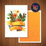 Belle carte lumineuse florale d'invitation d'illustration de carte de voeux pour épouser, anniversaire et vacances et jour de mèr Photo stock