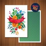 Belle carte lumineuse florale d'invitation d'illustration de carte de voeux pour épouser, anniversaire et vacances et jour de mèr Image stock