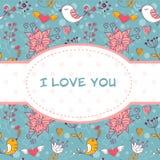 Belle carte postale d'invitation avec des oiseaux et des fleurs Photographie stock