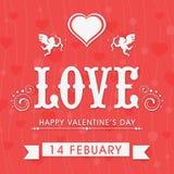 Belle cartoline d'auguri per la celebrazione felice di San Valentino Immagini Stock Libere da Diritti