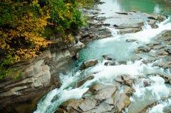 Belle cascade à écriture ligne par ligne dans la forêt d'automne images libres de droits