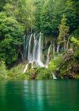 Belle cascade à écriture ligne par ligne de forêt Image libre de droits