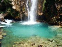 Belle cascade à écriture ligne par ligne en Croatie No.2 Images stock