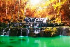Belle cascade pendant l'automne, les roches et les pierres en automne Images libres de droits