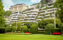 Belle case nella città di Lucerna, Svizzera Fotografia Stock