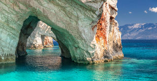 Caverne blu, isola di Zakinthos, Grecia Fotografia Stock Libera da Diritti