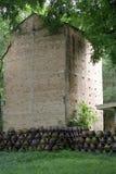 Belle chambre de brique et haut arbre vert Photographie stock
