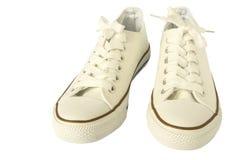 Belle chaussure blanche de mode d'espadrilles pour la femme Photographie stock libre de droits