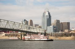 Belle of Cincinnati. The Belle of Cincinnati riverboat chugs up the Ohio River past downtown Cincinnati Royalty Free Stock Photography