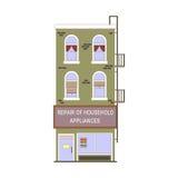 Belle collection linéaire détaillée de paysage urbain avec des maisons urbaines Rue de petite ville avec des façades de bâtiment  Photo stock