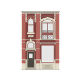 Belle collection linéaire détaillée de paysage urbain avec des maisons urbaines Rue de petite ville avec des façades de bâtiment  Photos stock