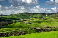 Belle colline verdi in Toscana Fotografie Stock Libere da Diritti