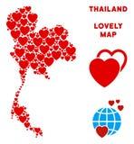 Belle composition de carte de la Thaïlande de vecteur des coeurs illustration stock