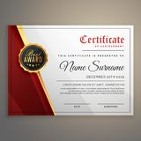 Belle conception de calibre de certificat avec le meilleur symbole de récompense Photographie stock libre de droits