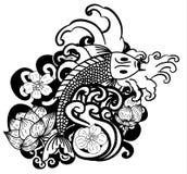 Belle conception de tatouage de carpe de Koi d'art de griffonnage Image libre de droits