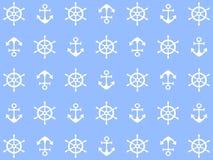Belle conception du fond de mer avec les roues et les ancres blanches illustration libre de droits