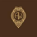 Belle conception florale de monogramme, élégant logo de schéma, calibre de vecteur Images libres de droits