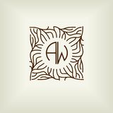 Belle conception florale de monogramme, élégant logo de schéma, calibre de vecteur Photographie stock libre de droits